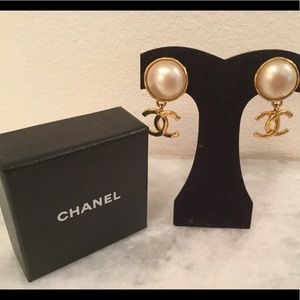 Authentic Chanel gold and pearl earrings
